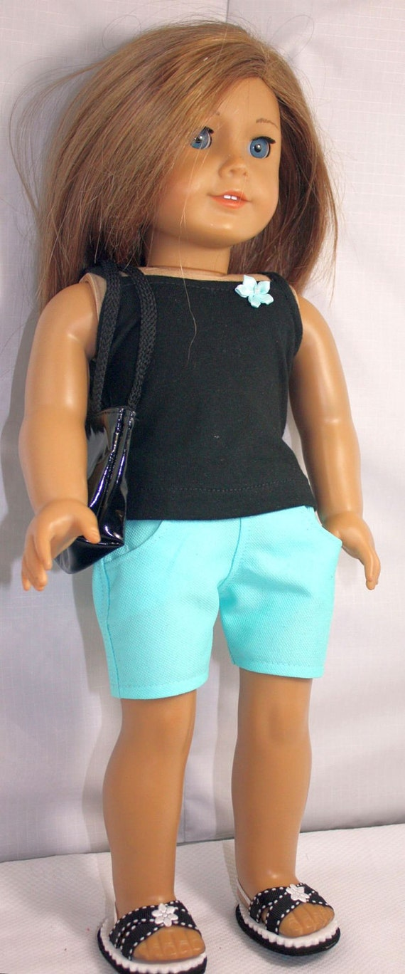 American Girl Doll Clothes-Turquoise and Black Summer Shorts Outfit