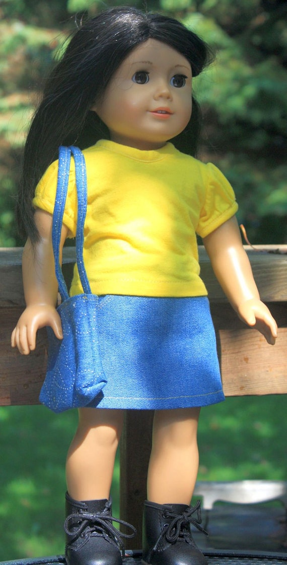 American Girl Doll Clothes, Denim skirt and yellow shirt and bag