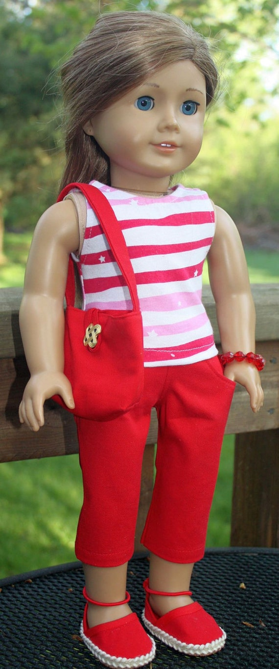 American Girl Doll Clothes-Red and White Summer Outfit including Handmade Espadrilles