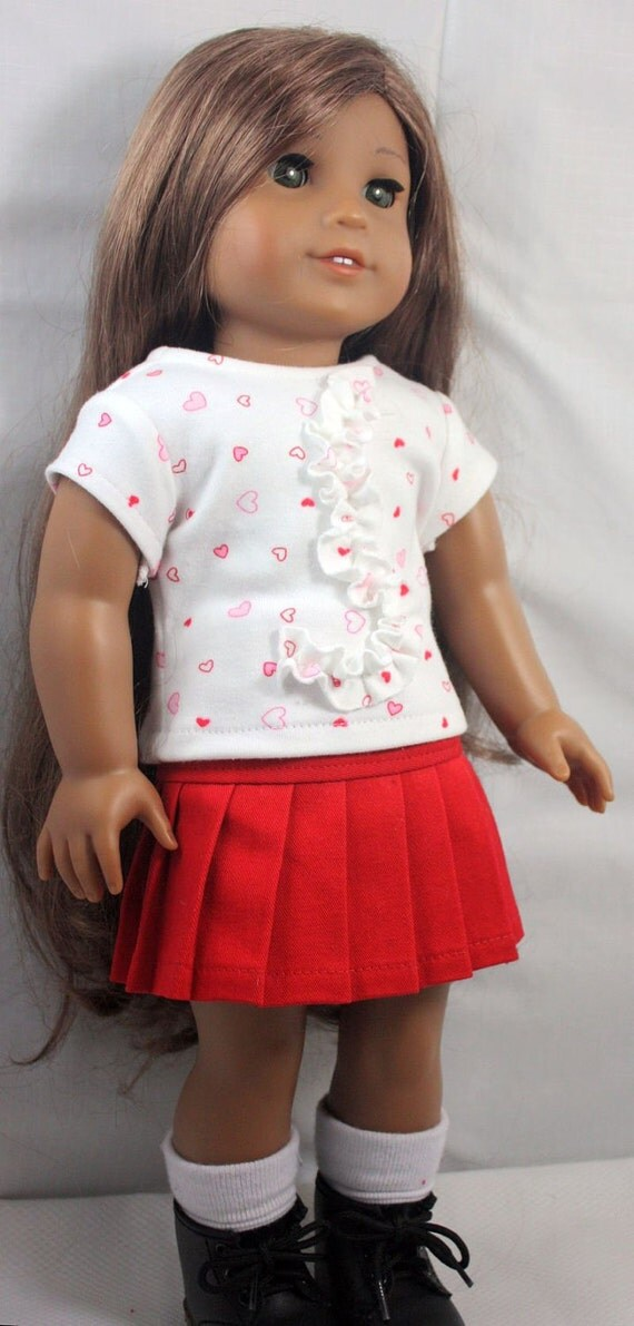 American Girl Doll Clothes-Red and White  Valentine Outfit, pleated skirt and T shirt