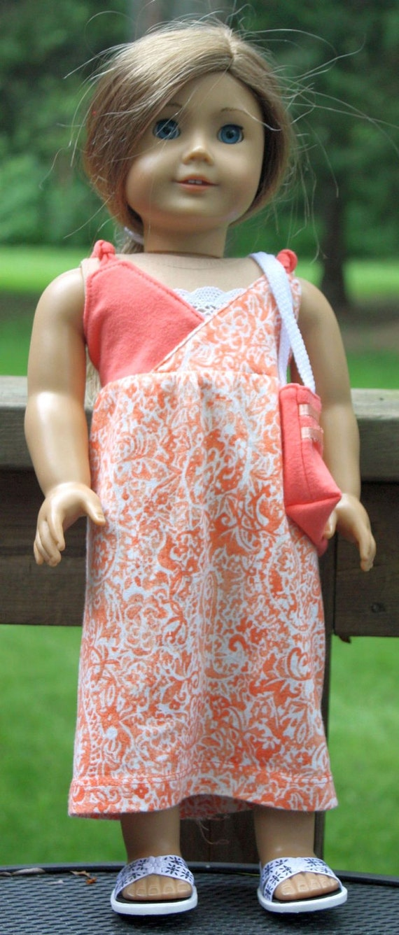 American Girl Doll Clothes-Orange and White Long Summer Dress and Tote