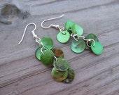 Green Earrings- Shell Dangle Earrings