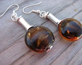 Amber Glass Earrings- Lampwork Glass Brown/Amber Beaded Earrings- ONE OF A KIND