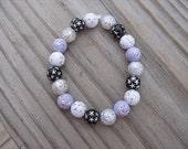 Girls Bracelet- Beaded Children's Jewelry-Light Purple, Silver, Black, White