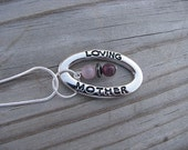 SALE- Mother Necklace- Loving Mother, purple cats eye beads