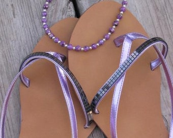 Purple Ankle Bracelet -Ankle Candy in Speckled Purple, Round Beaded Ankle Bracelet
