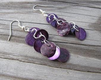 Dark Purple Earrings- Shell Dangle Earrings