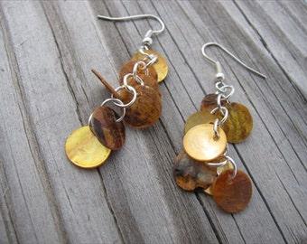 Tangerine Earrings- Shell Dangle Earrings