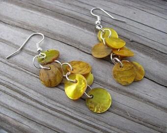 Yellow Earrings- Shell Dangle Earrings