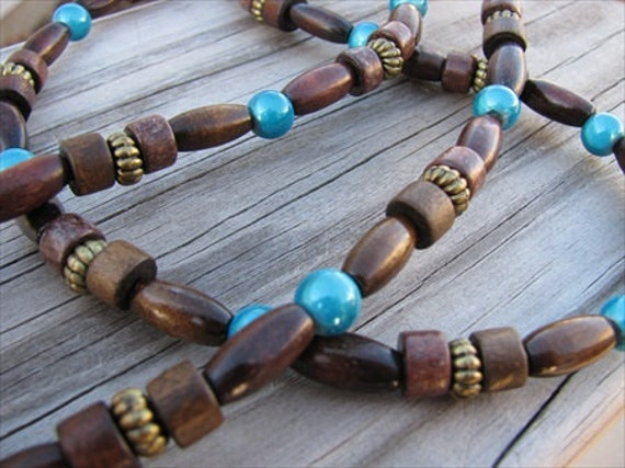 Wood Necklace with Turquoise Accents
