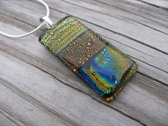 SALE- Golden Glass Necklace- Dichroic Glass