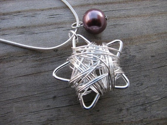 Silver Star Necklace- Wire, Modern, Silver with Purple Accent