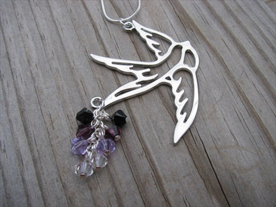 SALE- Bird Necklace- Cluster Beads- Purple Swarovski Crystal Accents-ONLY 1 AVAILABLE