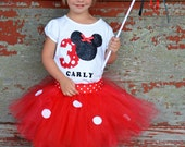 Sale 1st, 2nd,3rd Birthday sewn Tutu outfit Minnie Mouse-applique-red/white polka dot-personalized w/ bows, wand-1st birthday Mickey Minnie