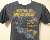 Star Wars Flight Into Fury Millennium Falcon Darth Vader Lightsaber Graphic T-shirt Sci-fi Movie Blue Top