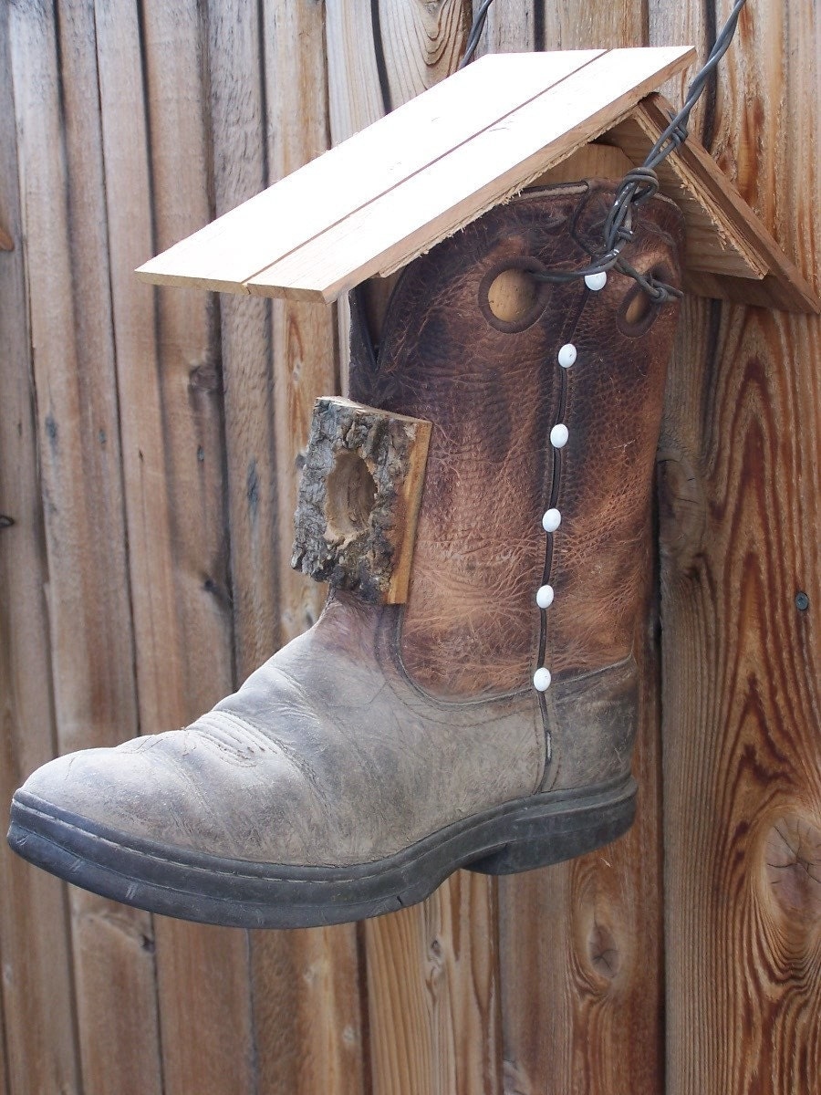 Cowboy Boot Birdhouse With Bark Entry