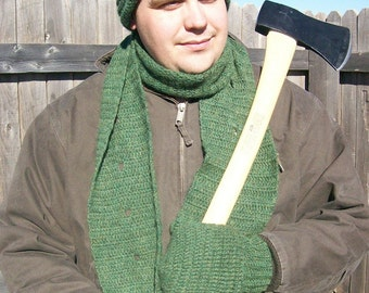 Crochet Pattern - PDF File - Mens Hat, Mittens, and Scarf - Rugged Warmth Winter Set