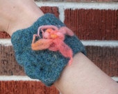 Crochet Felted Wrist Cuff with Stash Pouch
