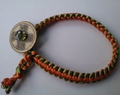 Green/Orange Reversible Flat Weave Harmony Bracelet