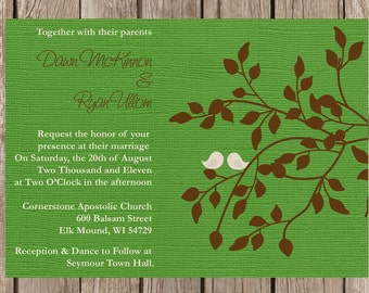 Love Birds Wedding Invitation, Rustic Wedding Invitation, Custom Wedding Invitation, Country Wedding Invitation