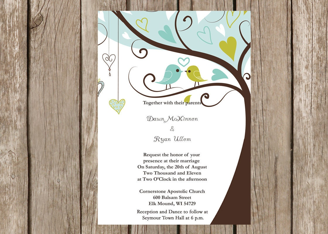 Bird Wedding Invitation: Love Birds In A Tree Wedding Invitation Customizable