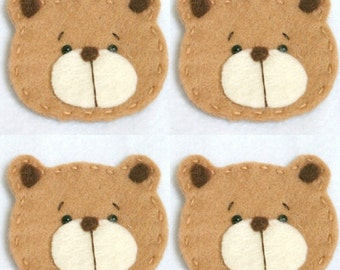 Set of 4 Handmade Pet Felt Applique Cute Bear