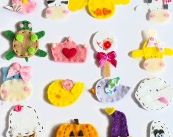Sample Set of 16 Handmade Felt Applique