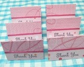 Handmade Pink Thank You Mini Cards - 6 Sets With White Envelopes