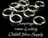 LARGE Sterling Silver Jump Rings - 10mm 14 Gauge  Locking Jump Rings - 10 Pcs - JR6a