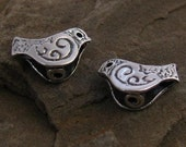 Sterling Silver Bird Beads - 2 Organic  Double Sided, Rustic, Stamped and Oxidized  - C35a