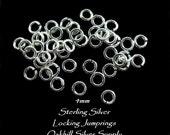 Sterling Silver Locking Jump Rings BULK Discount 50 pcs   4mm -  20 Gauge   JR1c