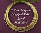 26 Gauge Gold Filled Wire - Round- Half Hard -20FT - 26g- 26ga GF Wire - HH26GF20