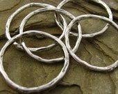 Sterling Silver Circle Links - 2 Juneberry Charm Holders - Organic Earthy Connectors with Bark Texture  20mm - L8