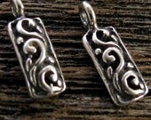 Sterling Silver Charms - 2 Rectangle Shaped with Raised Swirl Motif   C5