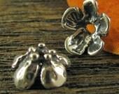 2 Pretty Posie Artisan Bead Caps in Sterling Silver Handcrafted Rustic Flower Bead Caps - AP24