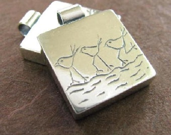 Sterling Silver Pendant - Birds in a Row -  P1