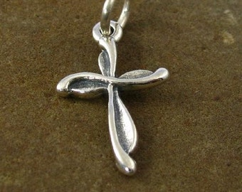Faith - Sterling Silver Cross Charm or Pendant - C73