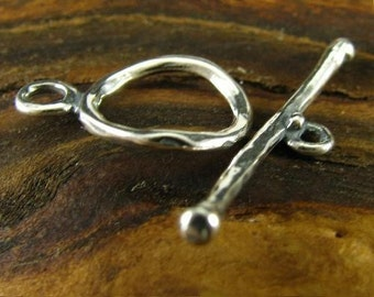 1 Organic Sterling Silver Smooth and Sculpted Toggle, Perfect for Bracelets or Necklaces, 14mm - T9