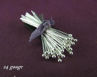 Sterling Silver Ball Headpins - 1 inch - 24 Gauge - 50 Pins  HB2a