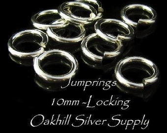 10mm Sterling Silver Jump Rings -  14 Gauge Hardened Large Locking Jump Rings 4 Connectors - Oakhill Silver Supply JR6
