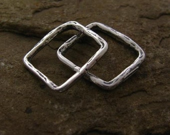 2 Small Rustic  Square Links or Connectors in Sterling Silver Earthy Organic Texture  -  8.8 x 9.8mm - L71RR