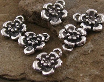 Sterling Silver Flower Charms - Country Garden Flowers - 4 Drops -  Small 9.3mm Posie Charms C51a