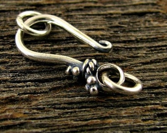 2 Large Sterling Silver Hook and Eye Clasp Set - Oxidized and Beaded -18.5mm   T26