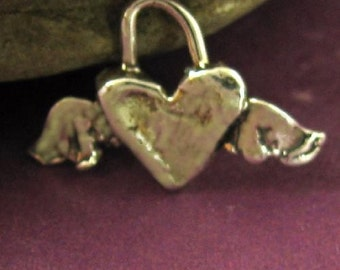 Flying Hearts - 2 Artisan Sterling Silver Heart Charms with Wings AC53