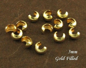 3mm GOLD FILLED Crimp Covers -  Fits 2mm Crimp Beads -  20 Pieces CR4