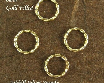 GOLD FILLED Twisted Jump Rings in 14kt - CLOSED 6.5mm  - 4 pcs  L116