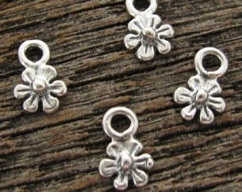 10 Tiny Sterling Silver Flower Charms -  Babies Breath Blossom Drops- Dangles  C167
