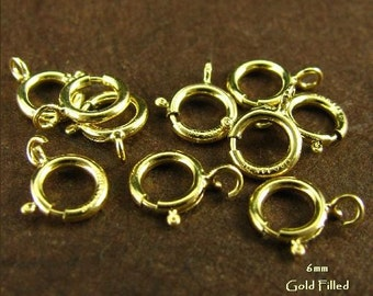 5 pcs - 14kt Gold Filled Spring Rings - Gold Jewelry Clasps - 6mm Top Quality -  Hallmarked -  Open Ring- SP2
