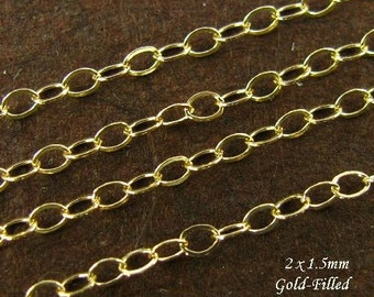 Gold Necklace Chain - 3 Feet - 14kt Gold Filled Flat Cable Chain  2mm x 1.5mm - CH14