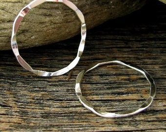 2 Sexy - Sterling Silver Hammered Rings - Earwire Hoops Minimalist Pendant Connectors - 24mm  L130
